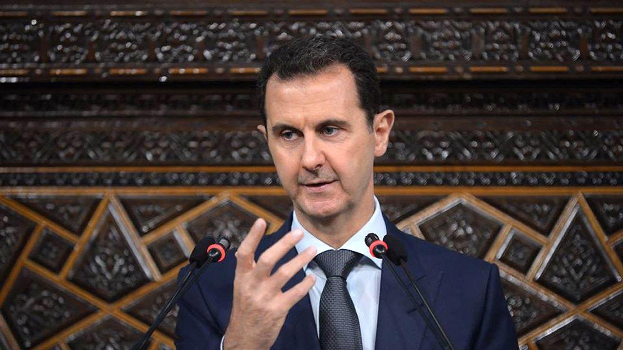 Le président syrien Bachar al-Assad lors d'une allocution dans le parlement de Damas en 2016. [AFP]