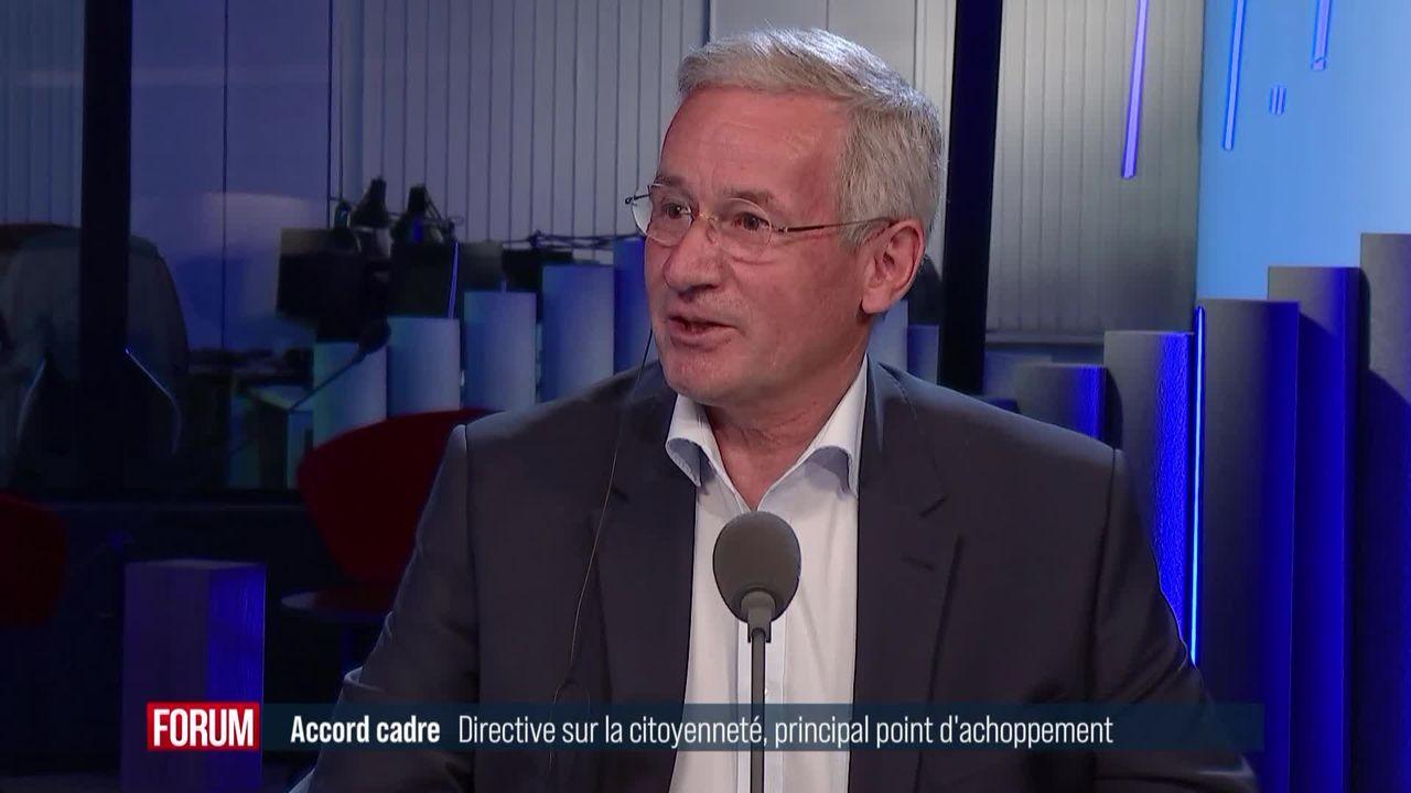 L'accord cadre et la directive européenne sur la citoyenneté: interview d'André Berdoz [RTS]