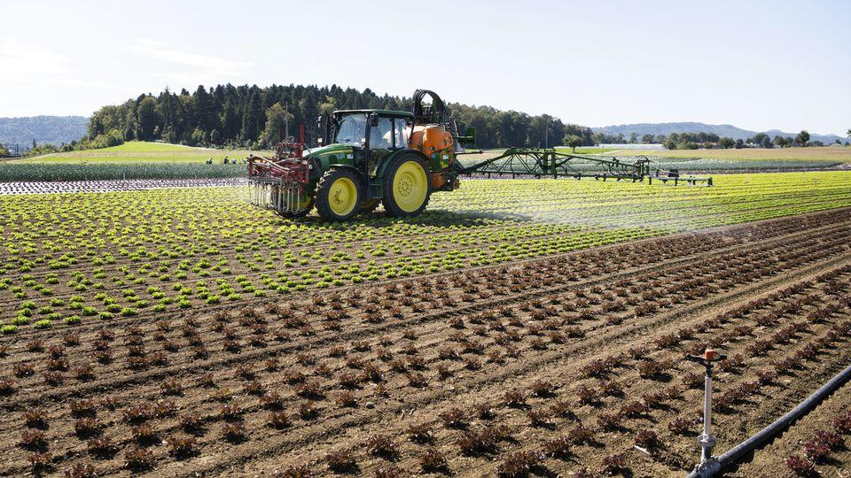 Epandange de pesticides dans un champ à Birmenstorf en septembre 2019. [Christian Beutler - Keystone]