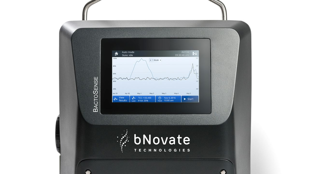 Le produit BactoSense, développé par bNovate, permet une mesure automatique et rapide des bactéries dans l'eau potable. Il adresse le marché de l'industrie de l'eau mondiale. [bNovate]