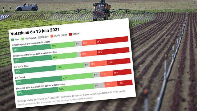 Les cinq objets soumis au vote le 13 juin seraient acceptés par le peuple, selon le premier sondage SSR publié le 7 mai 2021. Les deux initiatives sur les pesticides recueillent un peu plus de 50% d'avis favorables. [Christian Beutler - Keystone]