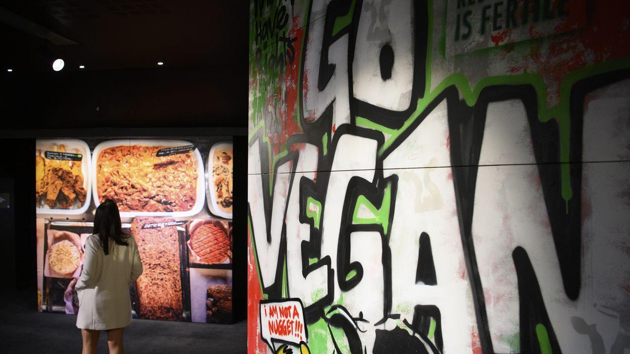 La nouvelle exposition de l'Alimentarium de Vevey, #vegan. [Laurent Gillieron - Keystone]
