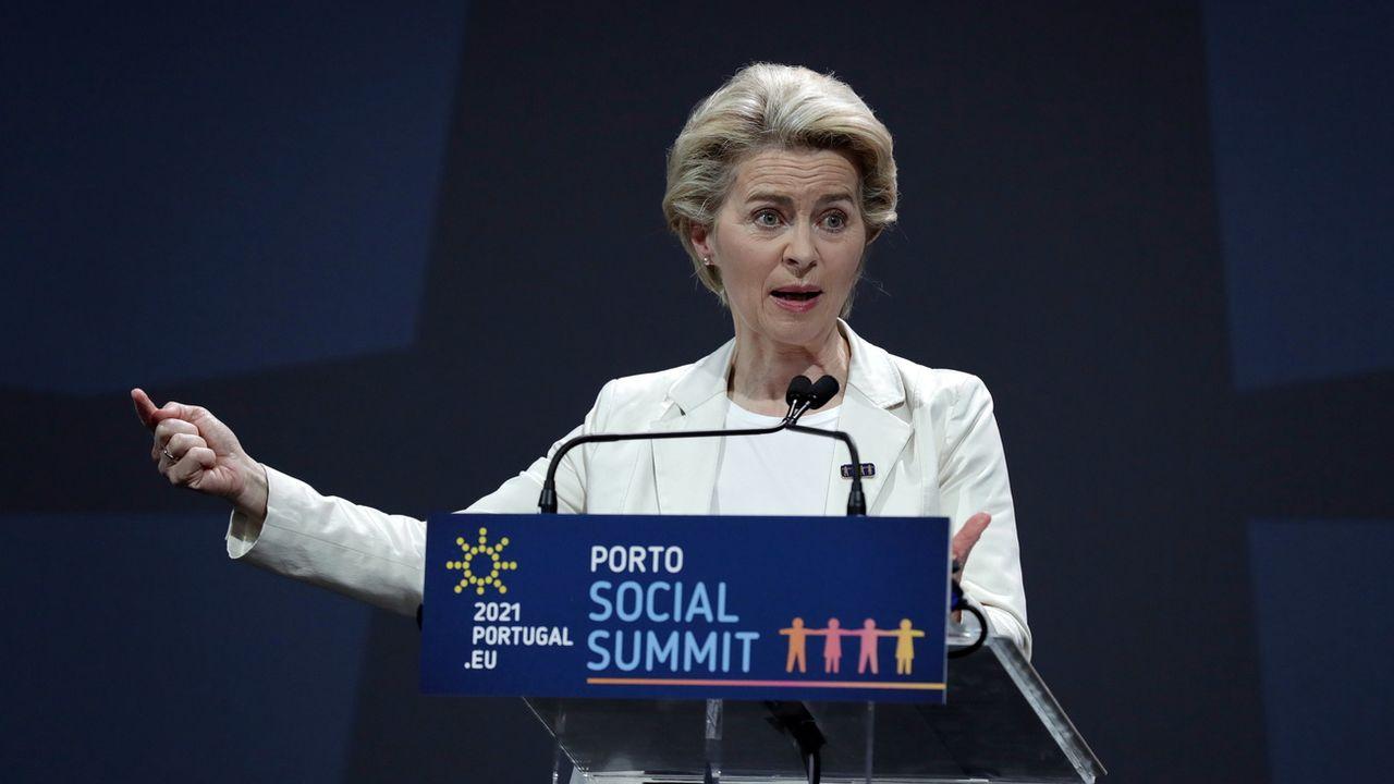 La présidente de la Commission européenne Ursula von der Leyen a profité du sommet pour rappeler les réalisations de l'Europe dans la crise et notamment le plan de relance de 750 milliards d'euros. [Estela Silva - Keystone]