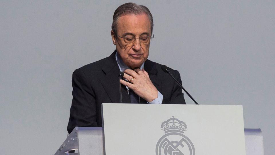 Florentino Perez, président du Real Madrid et de la Super League, ne compte pas en reste là avec les menaces de l'UEFA. [Rodrigo Jimenez - Keystone]