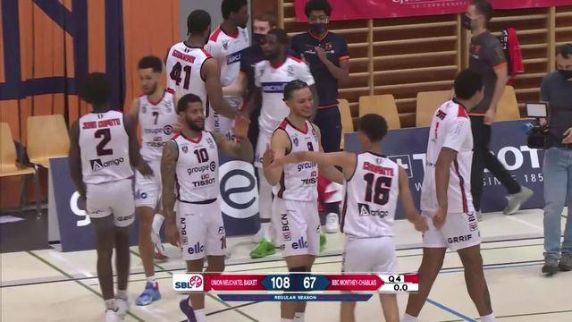 1-4, match 1: Union Neuchâtel - BBC Monthey (106-69): Neuchâtel remporte facilement le premier match [RTS]