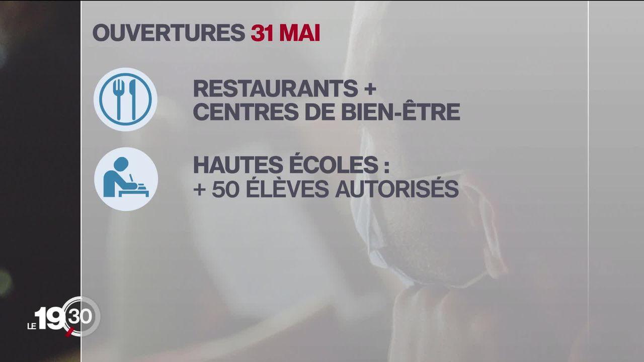 Le 31 mai, le Conseil fédéral permettra notamment la réouverture des restaurants. [RTS]