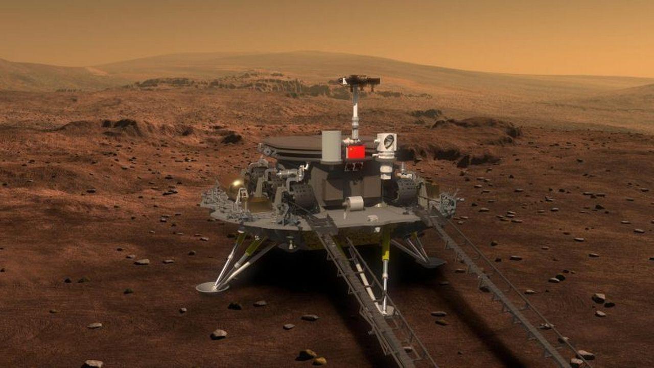 "Le robot chinois ""Zhurong"". [China National Space Administration (CNSA)]"