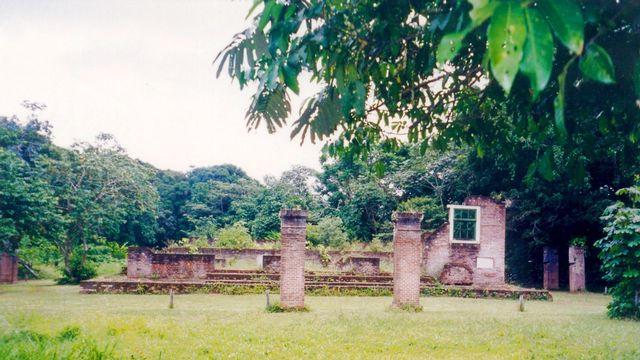 Les restes de la synagogue de Jodensavanne en 2000, Suriname. [Brokopondo - DP  Wikimédia]