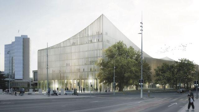Vue de l'entrée principale de la Cité de la musique depuis la Place des Nations, à Genève. [Pierre-Alain Dupraz - DR]