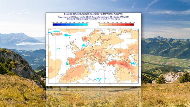 Anomalies de températures prévues par le centre européen (ECMWF) pour le mois de juin 2021 [Daniel Aebersold - ECMWF]