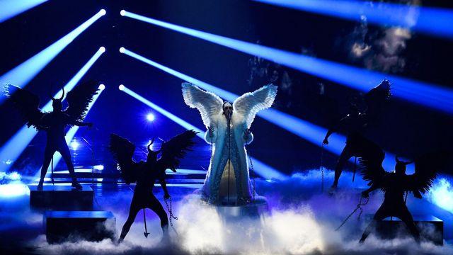 Tix, le représentant ailé de la Norvège lors des répétitions de la première demi-finale de l'Eurovision Song Contest à Rotterdam, le 17 mai 2021. [Vladimir Astapkovich/Sputnik - AFP]