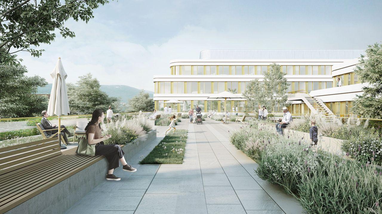 """Projet """"Aurora""""d'extension et transformation de l'Hôpital d'Yverdon-les-Bains, présenté par le bureau lausannois Ferrari Architectes .  [Ferrari Architectes / eHnv]"""