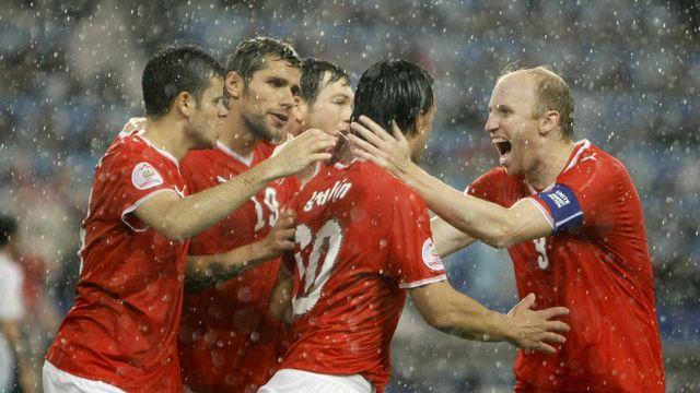 L'ouverture de la marque contre la Turquie, à l'Euro 2008. L'euphorie avant la douche froide, dans tous les sens du terme. [Matt Dunham - Keystone]
