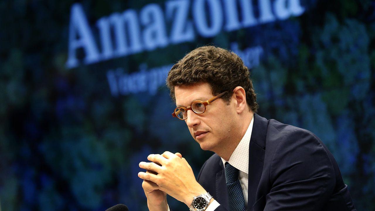 Ricardo Salles lors d'une rencontre sur la protection de l'Amazonie à Brasilia en octobre 2019. [Eraldo Peres - AP/Keystone]