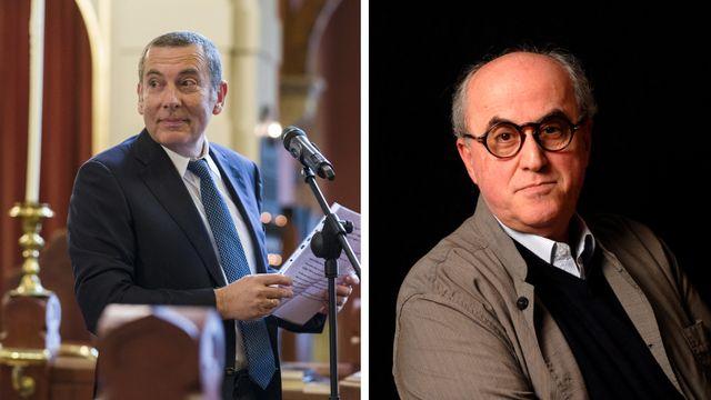 Jacob Keidar, ambassadeur d'Israël en Suisse, et Elias Sanbar, représentant de la Palestine auprès de l'UNESCO.  [ULF ANDERSEN/ALESSANDRO DELLA VALLE - AFP/KEYSTONE ]