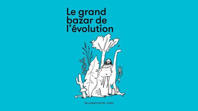 """Couverture de la brochure """"Le grand bazar de l'évolution"""". [RTS Découverte - Conservatoire et jardin botaniques de La Ville de Genève]"""