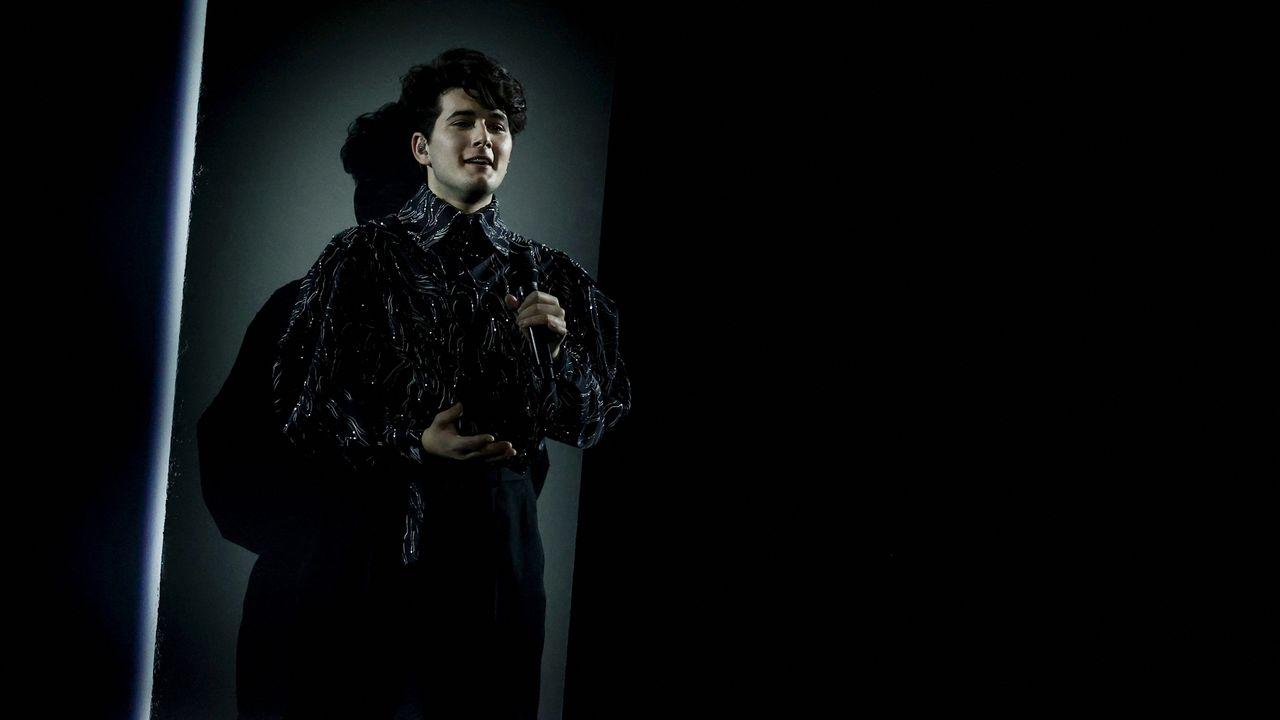 Le chanteur Gjon's Tears à l'Eurovision 2021. [Kenzo Tribouillard - AFP]
