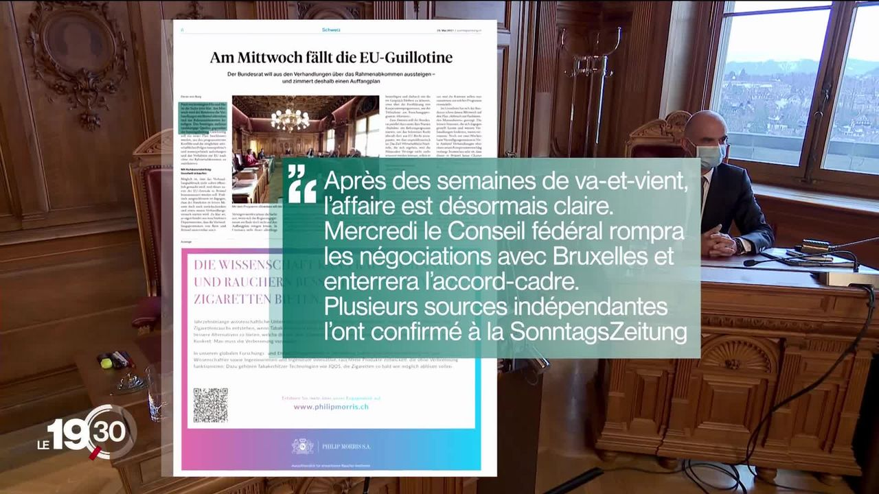 Suisse-UE: le Conseil fédéral pourrait enterrer l'accord-cadre dans les prochains jours selon la presse dominicale. [RTS]