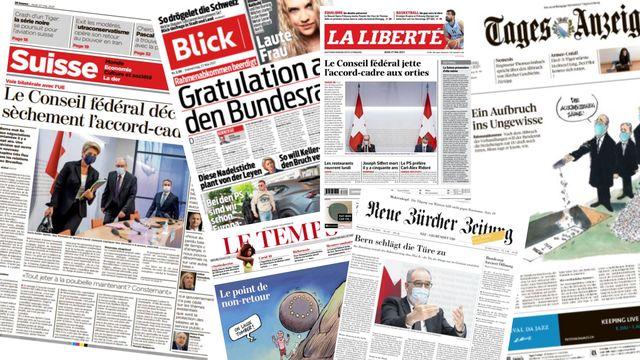 Les titres de la presse suisse du jeudi 27 mai. [Photomontage - RTS]