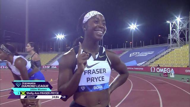 Doha (QAT), 100m dames : Shelly-Ann Fraser-Pryce (RSA) s'impose, Ajla Del Ponte (SUI) 7e [RTS]