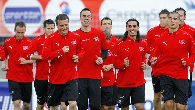 L'équipe suisse de football à l'entraînement avant l'Euro de 2016. [Keystone]