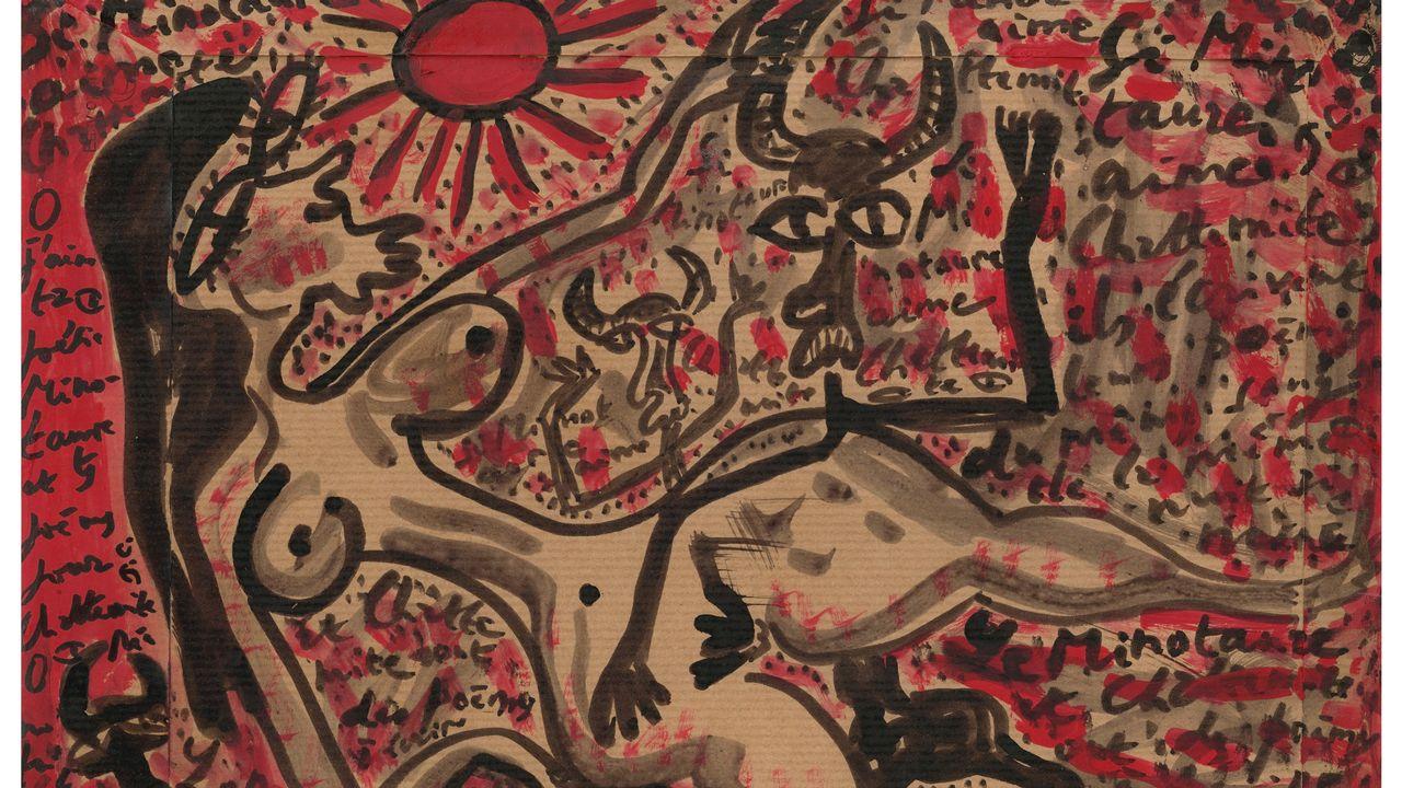 Jacques Chessex, Minotaure et Chattemite écrivent un poème, 2008. Une oeuvre à découvrir à la galerie Aarlo u Viggo à Buchillon jusqu'au 31 juillet 2021. [Agence du Lion d'Or, Perroy - Galerie Aarlo u Viggo ]