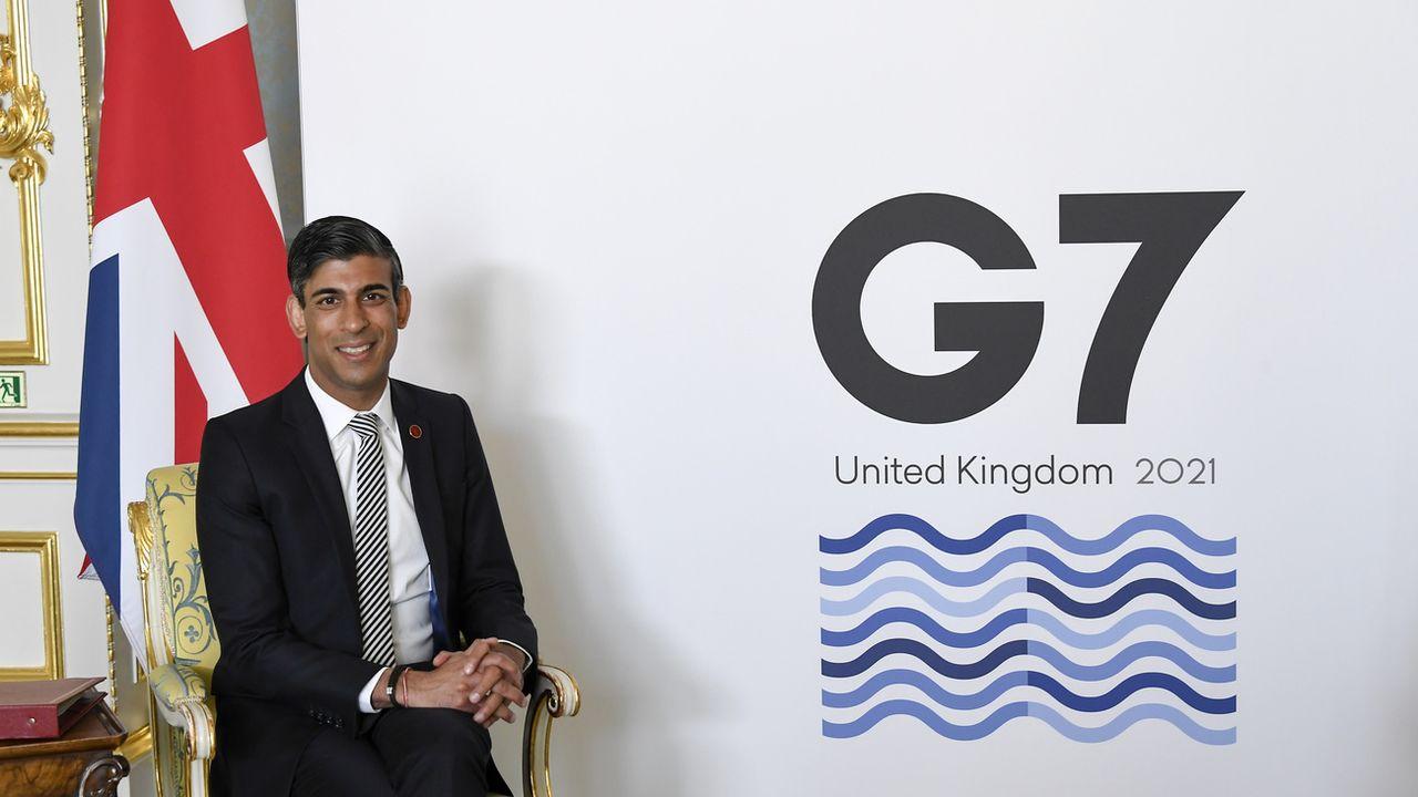 Le ministre des Finances britannique, Rishi Sunak, préside la réunion du G7. [AP Photo/Alberto Pezzali, Pool - Keystone]