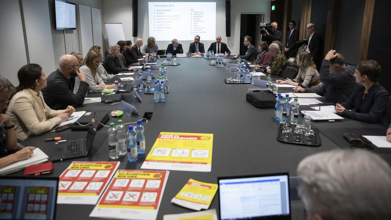 La task force Covid de la Confédération en séance le 28 février 2020 à Berne. [Peter Klaunzer - Keystone]