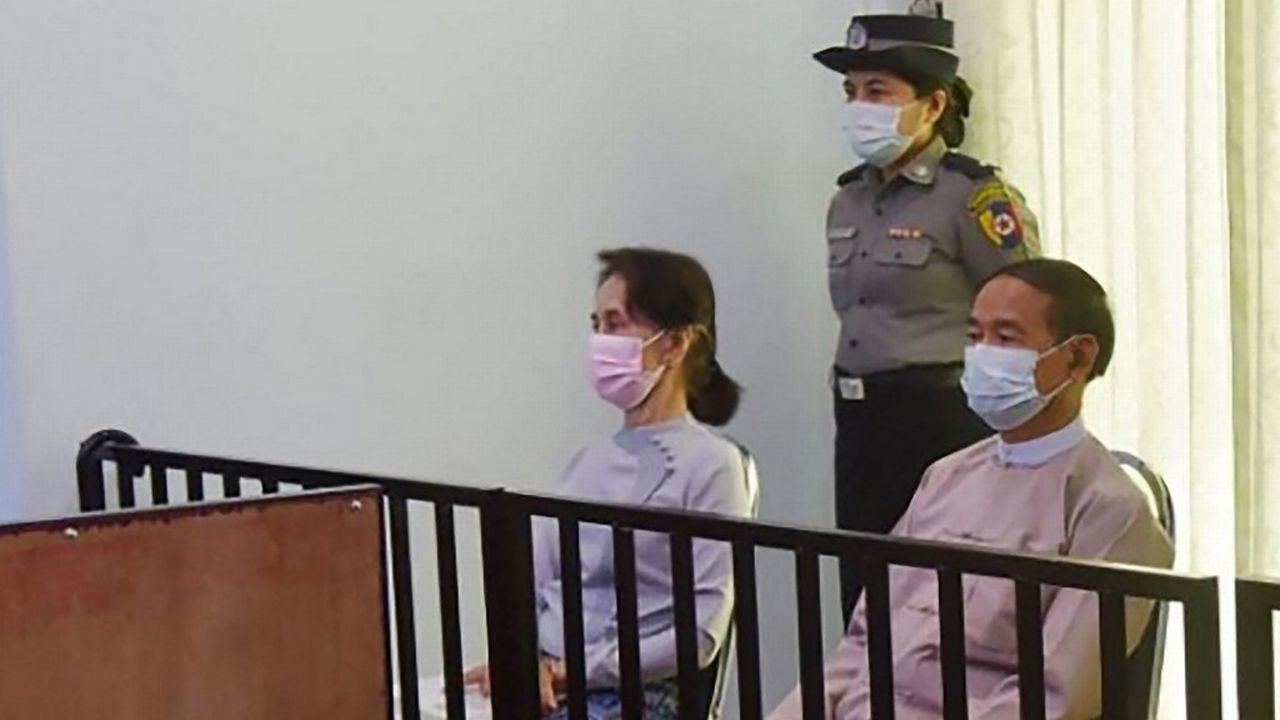 Aung San Suu Kyi a été inculpée pour corruption (image d'archives). [Myanmar ministry of information - AFP]
