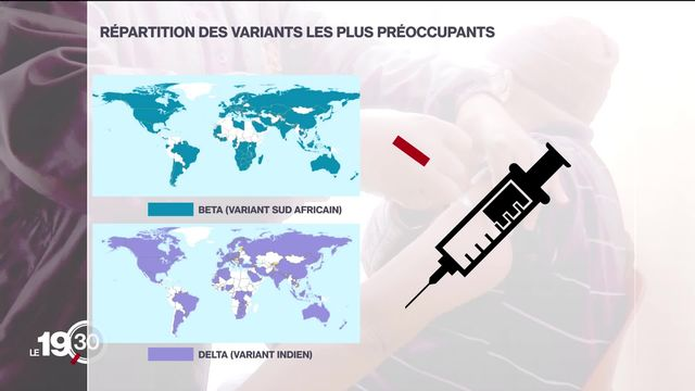 Une vaccination trop inégalitaire risque de favoriser l'apparition de variants qui échappent à la protection du vaccin. [RTS]