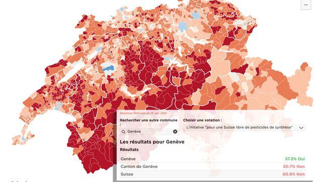 Le vote dans les communes détaillé. [RTS]