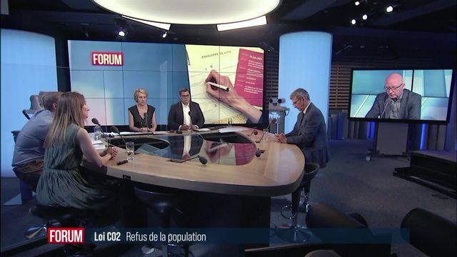 Coup d'arrêt pour la politique climatique suisse : interview de Céline Amaudruz, Adèle Thorens, Christophe Reymond et Blaise Matthey [RTS]
