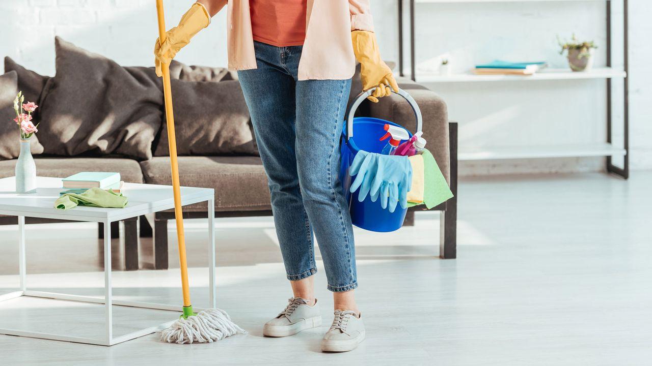 Une employée de maison pose dans un salon, la panosse à la main. [AllaSerebrina - Depositphotos]