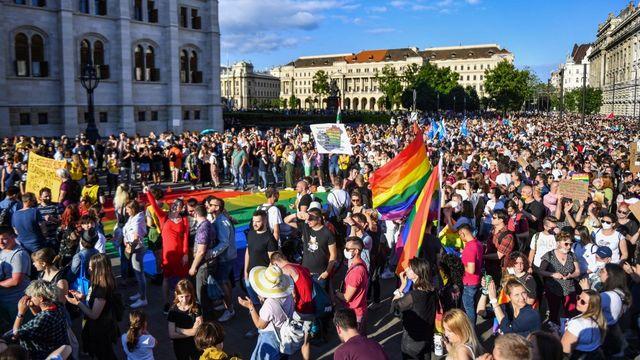 Plus de 5000 Hongrois ont manifesté lundi à Budapest. [Gergely Besenyei - AFP]