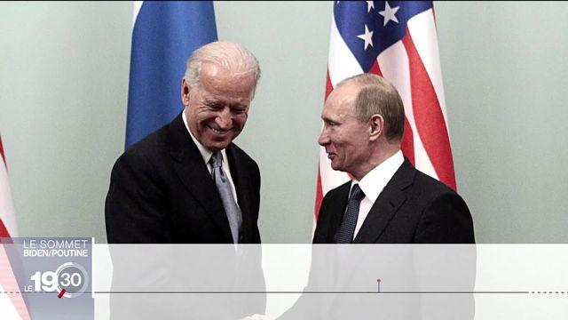 Portraits croisés de Biden et Poutine, deux présidents aux styles et valeurs diamétralement opposés. [RTS]