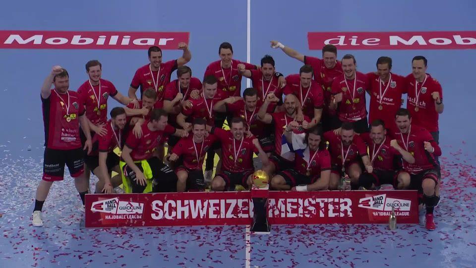 Finale messieurs, match 1: Winterthour - Schaffhouse (25-23): 3 sur 3, les joueurs du Pfadi champions Suisse ! [RTS]
