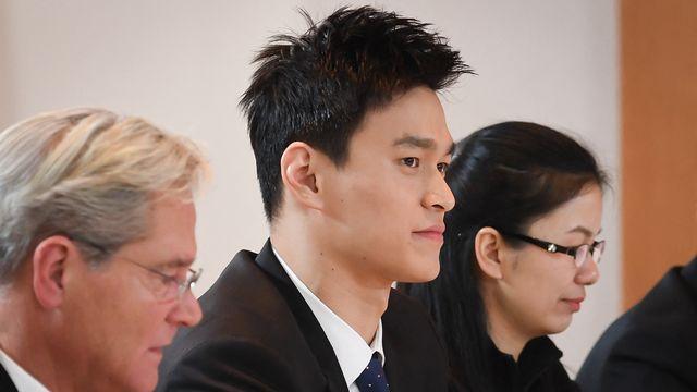 Le nageur chinois Sun Yang avant son audience publique devant le TAS en novembre 2019 [JEAN-GUY PYTHON - AFP]