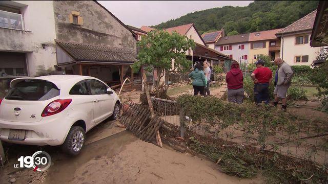 Les intempéries ont provoqué de gros dégâts, tout particulièrement à Cressier, dans le canton de Neuchâtel [RTS]