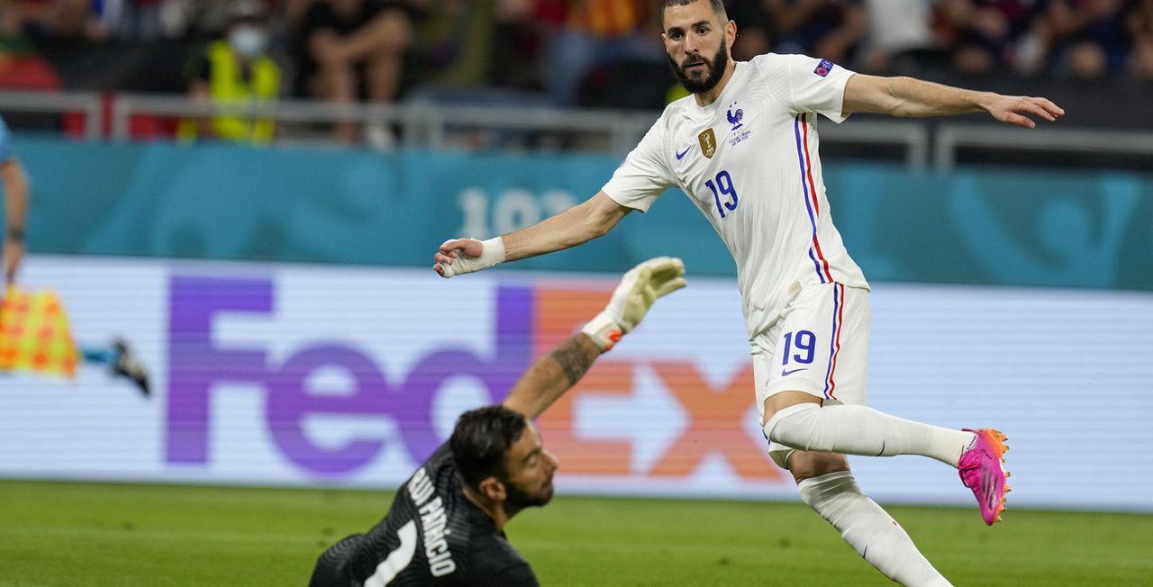 Benzema a inscrit ses premier et deuxième buts dans un Euro. [Darko Bandic - Keystone]