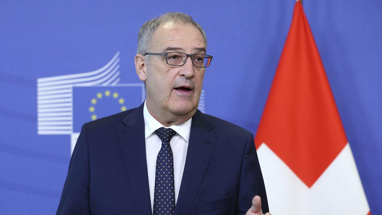 Le président de la Confédération Guy Parmelin lors de sa visite à Bruxelles en avril 2021. [Francois Walschaerts - Keystone]