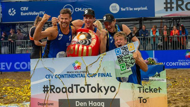 Grâce à leur victoire en Continental Cup, les beachvolleyeurs suisses ont validé leur ticket pour les JO de Tokyo. [Kees Kuijt/Orange Pictures - Freshfocus]