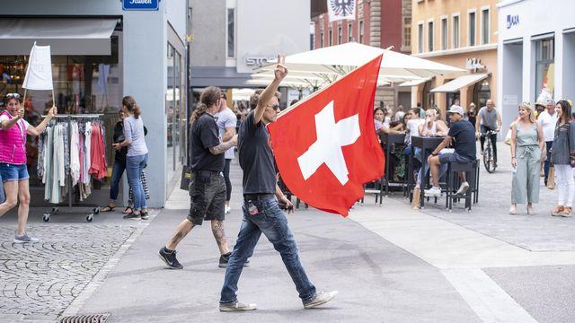 Les manifestants ont défilé dans la vieille-ville d'Aarau. [Urs Flüeler - Keystone]