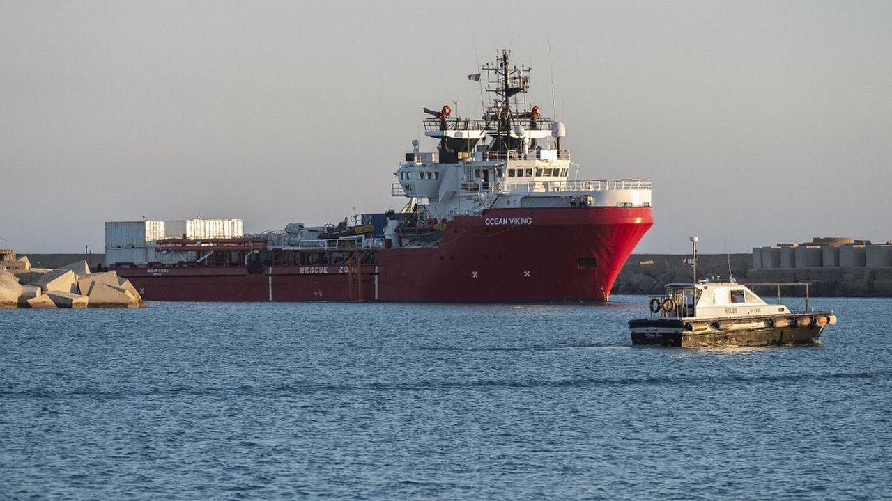 L'Ocean Viking, le navire de secours en mer de SOS Méditerranée a récemment recueilli 572 migrants en Méditerranée. [Giovanni Isolino - afp]