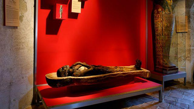 La momie du prêtre égyptien Nes-Shou au Musée d'Yverdon et Région. [©Musée d'Yverdon et région]