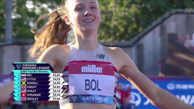 Londres (ENG) : Lea Sprunger (SUI) se classe 6e sur 400m haies en 55''39 [RTS]