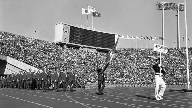 La délégation suisse aux Jeux Olympiques de Tokyo en 1964 [Keystone]