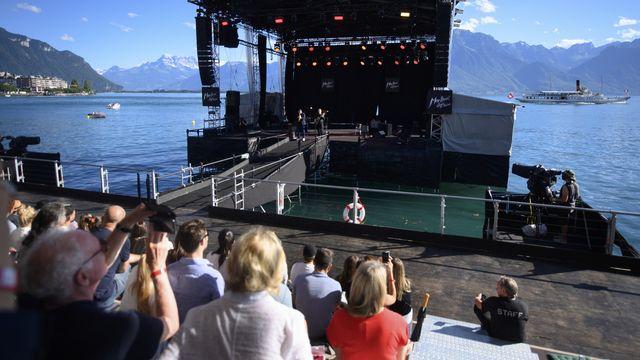 Le trompettiste Ibrahim Maalouf se produit sur la scène lacustre du Montreux Jazz Festival le 5 juillet 2021. [Laurent Gillieron - Keystone]