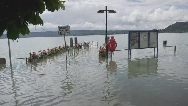 Les images des abords du lac de Bienne vendredi matin [RTS]