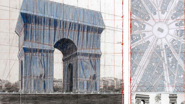Dessins préparatoires pour l'emballage de l'Arc de Triomphe, à Paris. [ Christo and Jeanne-Claude - 2019 Christo/AFP]