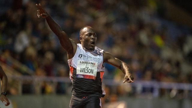 Alex Wilson lors du 200m messieurs de l'Athletics Meetings Lucerne le 29 juin 2021. [Urs Flueeler - Keystone]